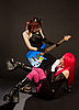 Photo 300 DPI: Two rock girls looking at each other