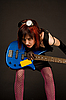Photo 300 DPI: Sensual rock girl with bass guitar