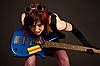 Sensual girl with bass guitar   Stock Foto
