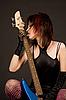 아름 다운 소녀 기타를 핥는 | Stock Foto