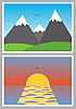 Vector clipart: simple photo icons with landscapes