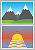 einfache Foto-Icons mit Landschaften