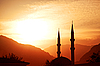 Mosque silhouette at sunset  | Stock Foto