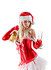 Mrs. Santa with champagne bottle  | Stock Foto