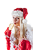 Photo 300 DPI: Mrs. Santa Claus drinking champagne