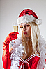 感性圣诞老人夫人香槟玻璃 | 免版税照片