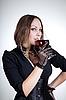 Beautiful woman drinking red wine   | Stock Foto