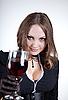 ID 3023634 | Blue-eyed kobieta z lampką wina | Foto stockowe wysokiej rozdzielczości | KLIPARTO