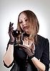 浪漫的女人杯酒   免版税照片