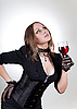 Gorgeous woman with red wine   | Stock Foto