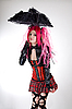Funny gothic girl with umbrella  | Stock Foto