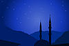 Arabic night with mosque silhouette