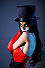 Photo 300 DPI: Sugar skull girl in tophat and red dress