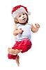 Cute little Santa helper in red pants   Stock Foto