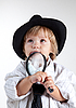 Photo 300 DPI: Young detective with magnifying glass