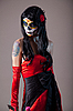 Photo 300 DPI: Sugar skull girl in red evening dress