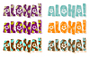 Vector clipart: aloha word in different colors