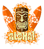 Vector clipart: orange tiki mask with surf boards