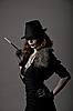ID 3291055 | Retro shot of gangster woman in fedora hat | Foto stockowe wysokiej rozdzielczości | KLIPARTO