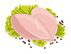 Vector clipart: raw chicken breasts with black peppercorns