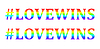 Love wins words in rainbow colors