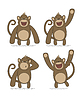 set of monkeys with different emotions