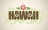 Vector clipart: Hawaii word with hibiscus flowers