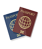 Vector clipart: blue and red biometric passports with glo