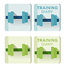 Vector clipart: dumbbells and Training diary text