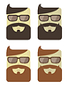 set of cartoon male faces with hipster haircut