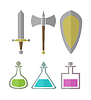set of elements for RPG games