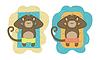 set of monkeys relaxing on beach