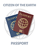 Vector clipart: biometric passports with globe, citizen