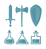 Vector clipart: set of simple one color elements for RPG games