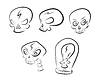 Vector clipart: set of simple skull sketches