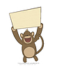 monkey holding poster with copy-space