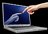 Photo 300 DPI: woman hand touching laptop monitor