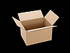 Cardboard box isolated on black | Stock Foto