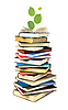 Stack of books and green plant | Stock Foto
