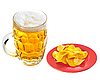 Photo 300 DPI: Potato chips on plate and mug of beer