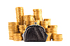 Many golden coins and purse | Stock Foto