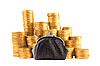 Wiele złote monety i portmonetki | Stock Foto