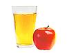 リンゴジュースと赤いリンゴのガラス   写真
