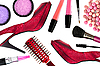Cosmetics and red woman shoes | Stock Foto