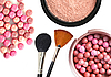 Cosmetics rouge, powder and brushes | Stock Foto