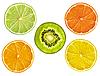 Zitrone, Grapefruit, Orange, Limette und Kiwi Scheiben auf Pfingstmontag   Stock Photo