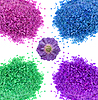 Multicolor sea bath salt and lavender flower | Stock Foto