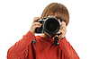 Boy holds camera | Stock Foto