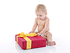 Portrait of happy child with gift | Stock Foto