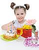 Photo 300 DPI: Beautiful little girl celebrates birthday